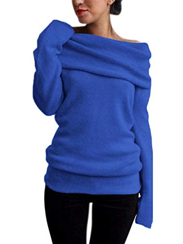 Style Dome Pullover Damen Revers Schulterfrei Tunika Langarmshirt Stricken Bluse Langarm Solid Blau-745936 L