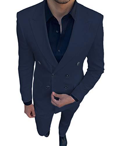 Lovee Tux Traje de hombre de doble botonadura Slim Fit trajes de boda para hombres de graduación, novio, chamarra de esmoquin con pantalones, 2 piezas -  Azul marino -  48