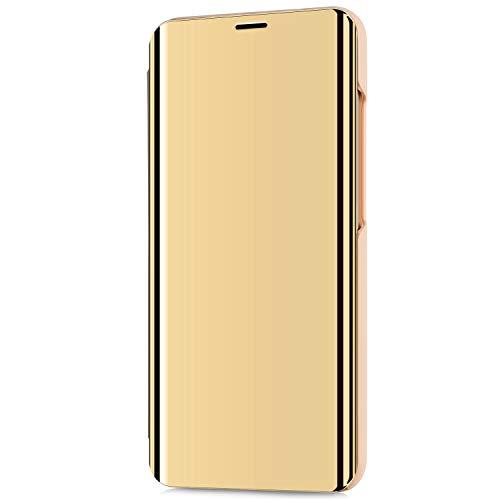 Kompatibel mit LG V30/LG V30 Plus/LG V30S ThinQ Hülle Schutzhülle PU-Leder Flip Überzug Spiegel 360-Grad-Schutz Tasche Ledertasche Handytasche Lederhülle Hülle Bookstyle Ständer Hart PC Hülle,Gold