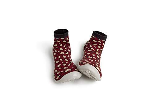 Collegien Wild Hausschuhe Socken rot mit Fellmuster Gr. 26/27
