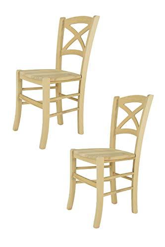 Tommychairs - 2er Set Stühle Cross für Küche und Esszimmer, robuste Struktur aus poliertem Buchenholz, unbehandelt und 100{87dc439ecc2e806daf35c5510f9f11dbff90ede16283a3dfd85b0b0fc52f1969} natürlich, Sitzfläche aus poliertem Holz
