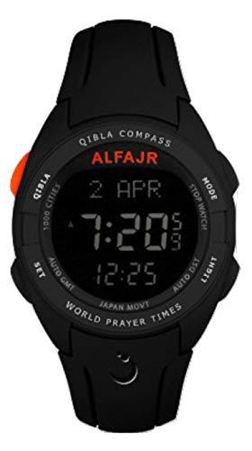 Alfajr wq-18Negro Qibla brújula Nimaz/Oración/Azan Reloj con Correa de Caucho–para los Hombres/Mujeres