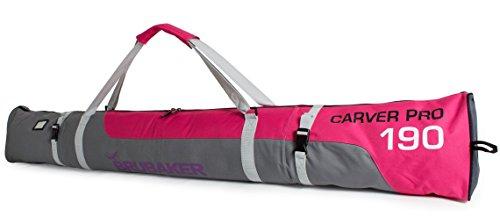 Brubaker Skitasche Carver Pro Limited Edition gepolsterter Skisack für 1 Paar Ski und Stöcke 170 cm Pink Grau