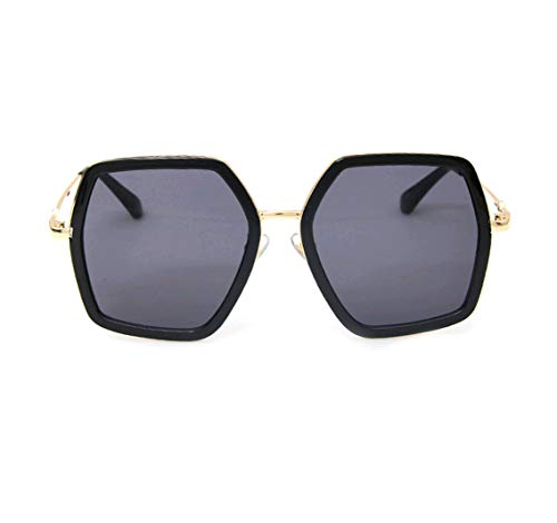 GAMT Oversized Square Sunglasses Women Vintage UV Protection?irregular Brand Designer Shades (Black)