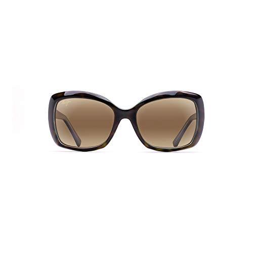 Maui Jim Women's Orchid Cat-Eye Sunglasses, Tortoise W/Peacock/HCL Bronze Polarized, Medium + 0