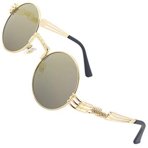 CGID Retro Sonnenbrille im Steampunk Stil runde Metallrahmen Polarisiert Brille Herren Damen Gold Rahmen Braun Gläser Verspiegelt, CAT3, CE, E73