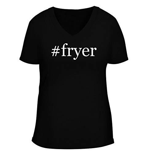 #fryer - Women's Soft & Comfortable Hashtag Deep V-Neck T-Shirt, Black, Small