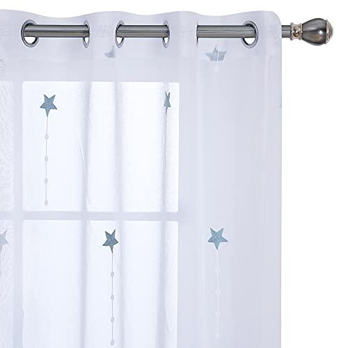 Amazon Brand – Umi Cortinas Translucidas Decorativas con Motivos Lluvia de Meteoros con Ojales 2 Piezas 140x280cm Azul Verde