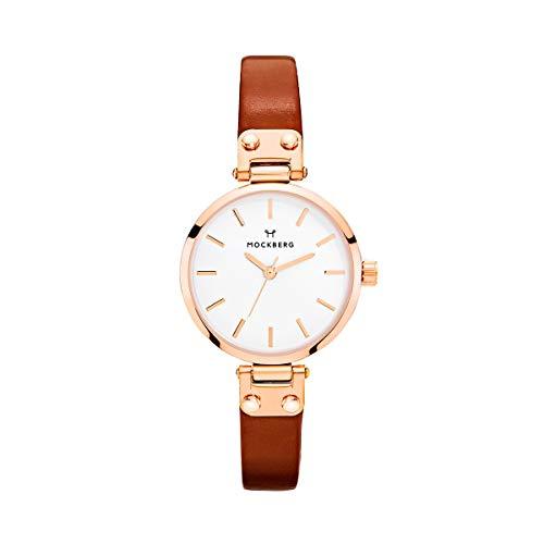 Mockberg Damen Analog Quarz Smart Watch Armbanduhr mit Leder Armband MO209