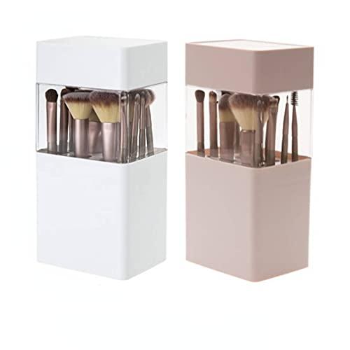 Caja de almacenamiento de brochas de maquillaje, caja de almacenamiento cuadrada de 3 capas, caja de almacenamiento cosmética de escritorio, lápiz de cejas delineador de ojos, Madera de bambú,