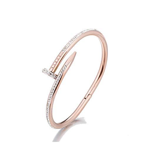 MSTOT Flash Diamant Persönlichkeit Nagel Armband Weiblichen Titan Stahl Vergoldet 18 Karat Roségold Mode Armband