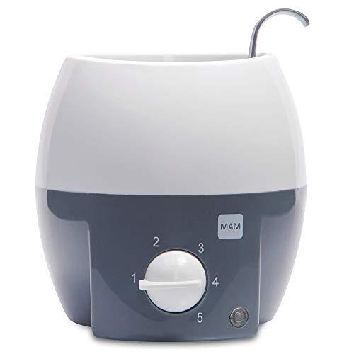 MAM babykosterverwarmer voor babyflessen en babyvoeding, flessenwarmer met automatische temperatuurregeling en oververhittingsbeveiliging, grijs