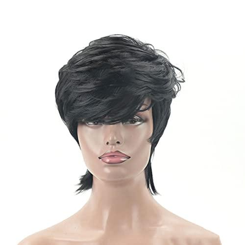 zhaotuoqp Pelucas para Mujeres, Estilo De Pelo Corto Y Rizado Negro, Material De Seda De Alta Temperatura, Esponjoso Natural para Modificar La Cara, Uso Diario