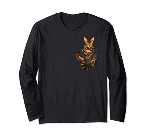 Funny Bengal Cat In Your Pocket Long Sleeve T-Shirt