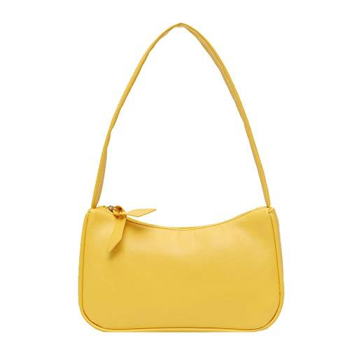 SANGSHI Baguette-väska, handväska, mjukt PU-läder damer axelväska retro enfärgad dam dragkedja handväskor modedesign små axelväskor, - GUL - 1