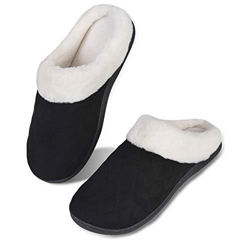 Herren Damen Winter Hausschuhe Memory Foam Wärme Bequem Plüsch Pantoffeln Home rutschfeste Slippers Schuhe Indoor Outdoor(fg.Schwarz,38/39 EU)