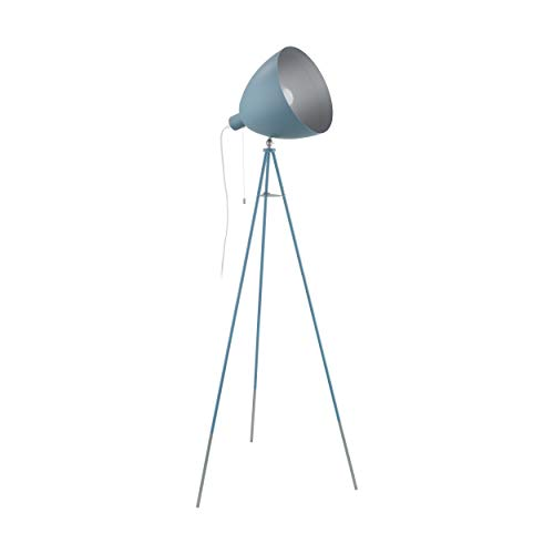EGLO Chester - Lámpara de pie con trípode, 1 luz vintage, lámpara de pie de acero, color azul oscuro, plata, casquillo E27, incluye interruptor