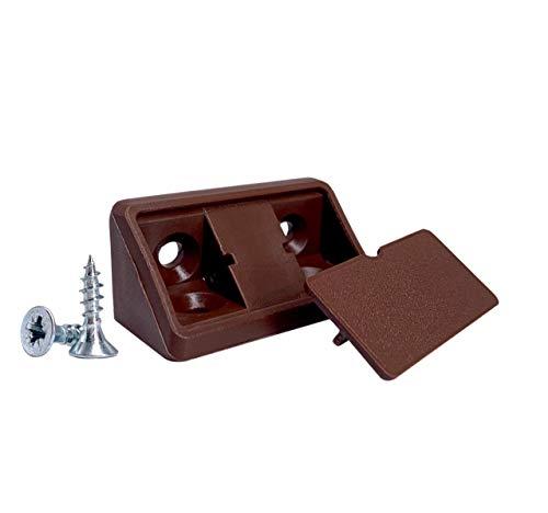 Lote de 20 soportes para estantes de color marrón de 44 x 20 x 20 mm, juntas de esquina de plástico de 90 grados, ángulo recto, tornillos incluidos (20, marrón)