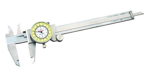 """Starrett 1202F-6 Dial Caliper, Stainless Steel, White Face, 0-6"""" Range, -0.001"""" Accuracy, 0.010"""" Resolution, Meets Specifications"""