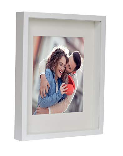BD ART 28 x 35 cm 3D Box Bilderrahmen Weiß mit Passepartout 20 x 25 cm, Glasscheibe, Tief 3 cm