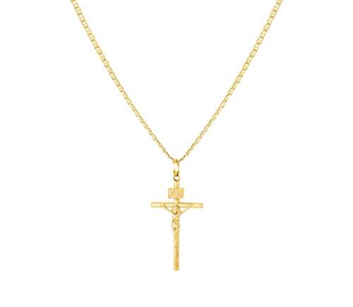 Ketting met kruis Christus van 18-karaats goud voor communie kinderen