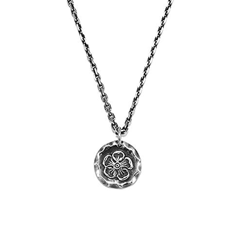 Collar con colgante en forma de flor 990 Joyas de moda talladas a mano en plata de ley para cumpleaños Navidad Día de San Valentín