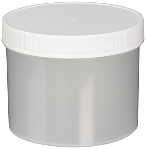 JG Finneran D0045B-32 Polypropylene Wide Mouth Straight Sided Standard Jar with White Polypropylene Closure, Unlined, 120-400mm Cap Size, 32oz Capacity, Bulk pack (Pack of 48)
