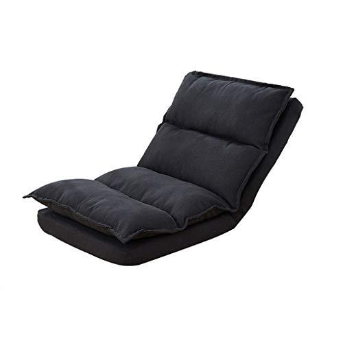 XUE Single Tatami Faul Couch, Kleine Einfache Sofa-Rückenlehne 5 Einstellbar Einstellbar Home Falt-Casual-Sofa - Verwendet, Um Spiele Zu Spielen, Fernsehen (Color : Black)