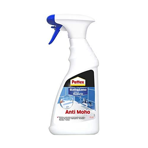 Pattex Baño Sano Anti Moho, limpiador antimoho para juntas de silicona, mamparas y azulejos, spray limpiador para eliminar y prevenir la aparición de moho, 1 x 500 ml