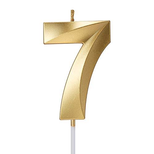 Smarcy Candela di Compleanno Numero 7 d'Oro Candela Numerale 7 Topper per Torta per 7 Anni