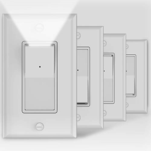 4Pack SOZULAMP 3 Way Wall Light Switch with LED Night Light 15Amp 120/277Volt Decora Rocker, Automatic On/Off Sensor, White