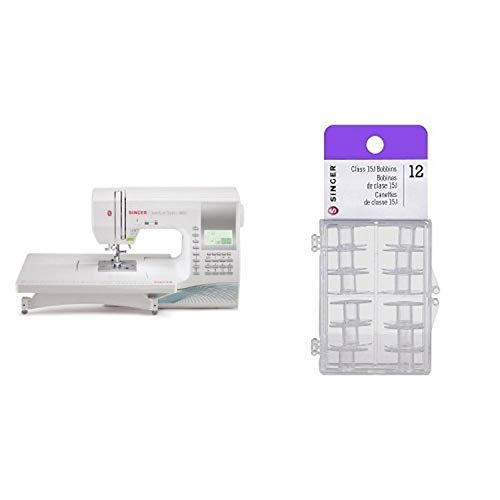 SINGER 9960 Quantum Stylist 600-Stitch Computerized Sewing Machine with Extension Table, Bonus Accessories and Hard Cover & Singer Transparent Plastic Class 15J Bobbins, Pack of 12