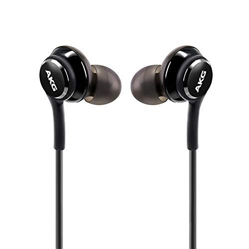 OEM UrbanX 2019 Stereo Headphones for Samsung Galaxy S10 S10e Plus Braided Cable - Designed by AKG - with Microphone and Volume Buttons (Black)