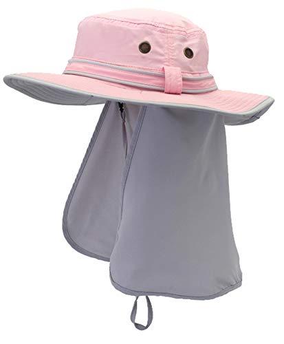 Ommda Sonnenhüte Damen Sonnenhut UV Schutz UPF 50+ Sommer Outdoor Fischerhut Bucket Hat Atmungsaktiv mit Nackenschutz Pink und Weiß