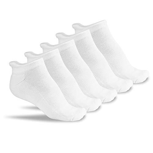 FLINK Herren & Damen Laufsocken 5 Paar (Weiß) Größe 39-42 I Hochwertige Sportsocken aus Baumwolle I atmungsaktive Running Socks mit gepolstertem Fußrücken