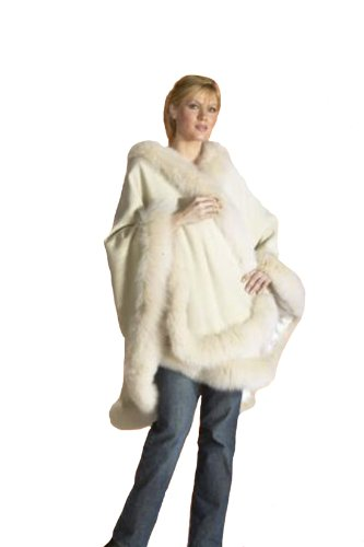 Cape,Capes,Cashmere Cape with Fox Trim all around from Cashmere Pashmina Group- Ivory