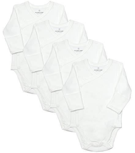 Baby Side Snap Bodysuit Set, Long Sleeve Cotton Boy Girl Kimono Onesie, 4 Pack