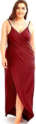 DIAK Damen Strandkleid Wickelkleid Badeanzug Mehrfachverschleiß leicht schnell trocken leicht,Wein Rot,3XL