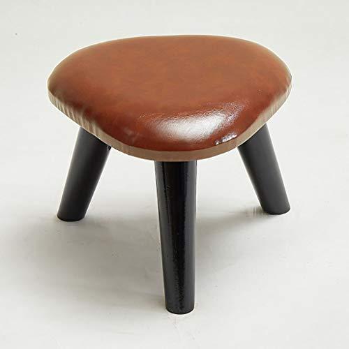 Lwsofa stool kruk met gevoerde zitting zitkruk met 3 poten, leer, hout, Triangle Bench Luxury