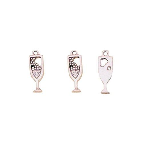 20 colgantes de cristal de vino para hacer joyas, vintage, chapado en plata, hecho a mano