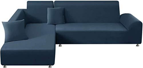 Mazu Home - Juego de sofá con 2 almohadas navideñas, juego de sofá elástico de fibra de poliéster en forma de L, 3 asientos + 3 asientos (gris claro)