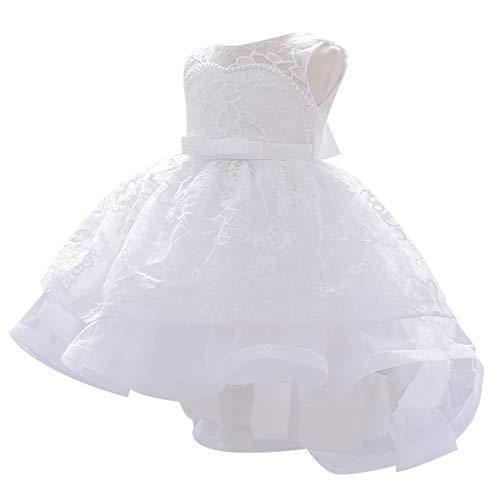 HOIZOSG Bebé Niñas Bordado Bautizo Vestido Alto Bajo Encaje Concurso Bautismo Boda Fiesta de Cumpleaños Bowknot Tutu Vestido - rosa - 6-9 meses