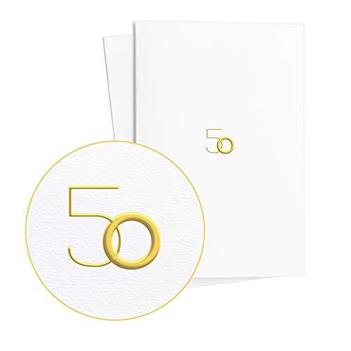Set di 2 biglietti di compleanno con 50 biglietti di auguri con incisione dorata su carta testurizzata, elegante biglietto per compleanno o regalo per anniversario o 50 anniversario di matrimonio, E10
