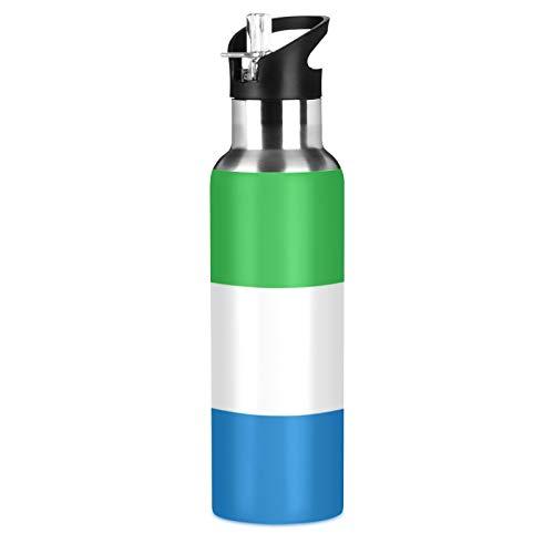Botella de agua deportiva de acero inoxidable 304 con diseño de bandera de Sierra Leona, botella de agua aislada al vacío con pajita (600 ml)