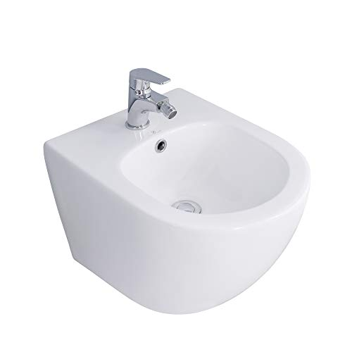 HOMELODY Bidet Toilette Suspendu en Céramique Haute...