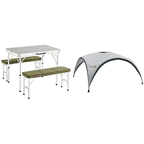 COLEMAN 205584 Mesa de Camping, Campingtisch Pack-Away(TM) Table for 4, Blanco + COLEMAN Toldo, Zelt Event Shelter, Gris-Verde, XL