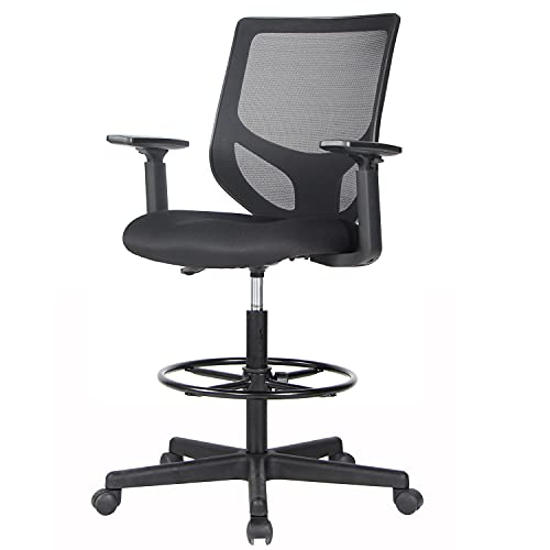 Drafting Chair, Tall Office Chair, Ergonomic Mesh Office Drafting Table Chair with Adjustable Armrests and Foot-Ring for Standing Desk