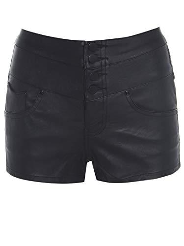 SS7 Damen Kunstleder hohe Taille Shorts, schwarz, Größen 6 bis 14 - Schwarz, EU 36 / UK 8