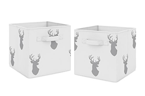 Grey Deer Foldable Fabric Storage Cube Bins Boxes Organizer Toys Kids Baby Childrens for Woodland Deer Stag Collection by Sweet Jojo Designs - Set of 2