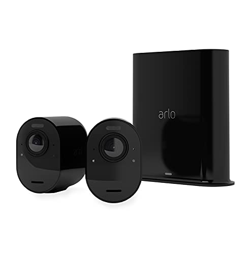 Arlo Ultra2 Wireless Home Security Camera System CCTV, 6-Month Battery Life, WiFi, Alarm, Colour Night Vision, Indoor or Outdoor, 4K UHD, 2-Way Audio, Spotlight, 180° View, 2 Camera Kit, VMS52